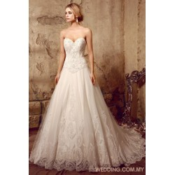 Delicate Beaded Patterned Lace On The Tulle Ball Gown With Wide Hemline Border