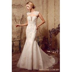 Organza Wedding Dress Decorated With Beaded Appliques