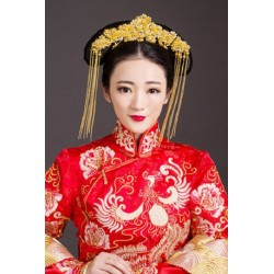 Chinese Style Bridal Retro Phoenix with Golden Tassels Hair Accessory