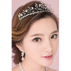 Korean Style Bridal Jewelry Set (Tiara + Necklace + Earring)
