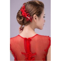 Chinese Red Flower Jewelry Hair Comb Insert style