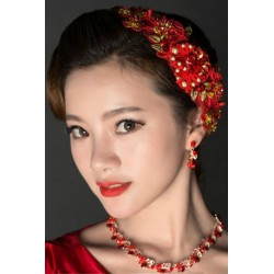 Red Chinese Bridal Style (hair clip + earring + necklace)