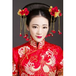 Chinese Bridal Vintage Red Rose (Hair Accesory + earring)
