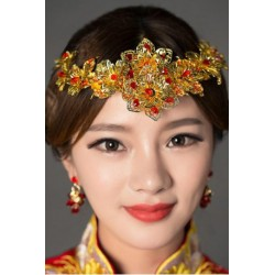 Chinese Bridal Golden Flower Jewelry Hair Decoration