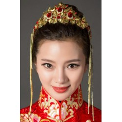 Chinese bridal style red phoenix golden tassels tiara