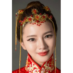 Chinese bridal style phoenix crown jewelry hair accessories