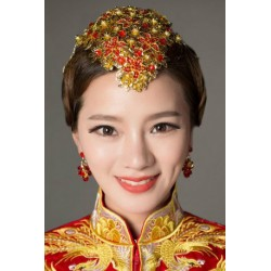 Chinese bridal style red vintage fringe hair accessories