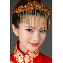 Chinese Bridal Style red phoenix crystal jewelry hair accessories