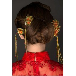 Chinese Bridal Style Red Retro Jewelry hair accessories