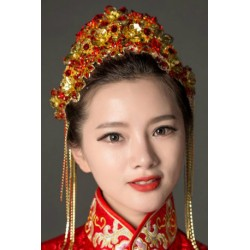 Chinese Bridal style retro red hair crown fringed accessories