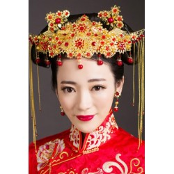 Chinese Bridal style retro jewelry hair accessories + earring