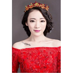 Bridal Red coral crystal hair crown