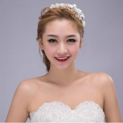 Korean Bridal white flower banquet hair band type
