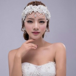 Korean Bridal elegant lace diamante hair circlet