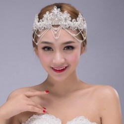 Korean Bridal luxury pearl & diamante style hair tassel circlet