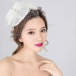 Korean Bridal white lace veil with net and mesh hat