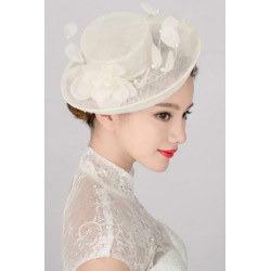 Korean Bridal princess style white silk hat