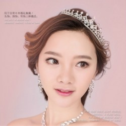 Korean Bridal jewelry 3-pieces set (hair crown + necklace + earring)