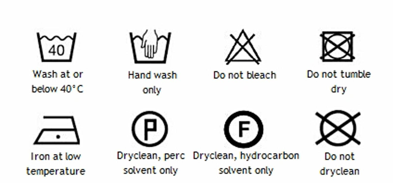 wash care symbols for dry clean only