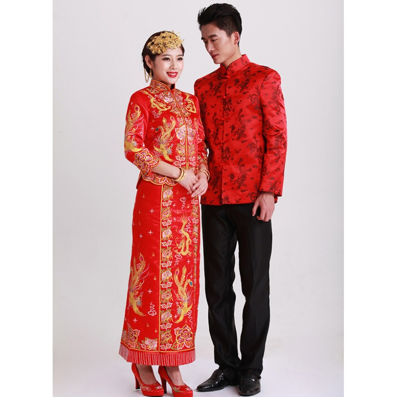 Chinese Wedding Gift For Groom : Chinese Wedding Traditional Quah with Dragon Phoenix Embroidery ...