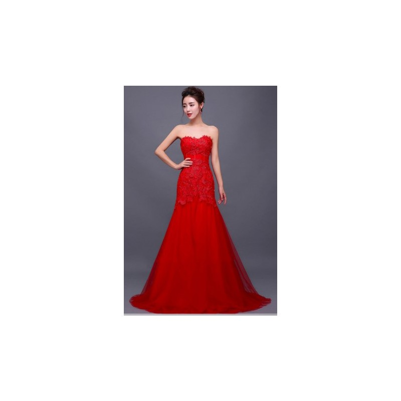Lace Wedding Dress Red : Bride groom fashion gt strapless red lace trumpet wedding dress gown