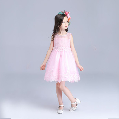 Elegant Lace Hem Baby Pink Flower Girl Dress Fashion